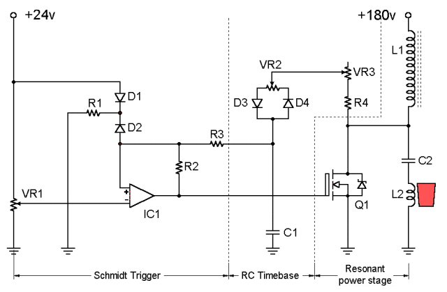00-A_conceptual_MOSFET_self_resonant_oscillator Induction Heating Circuit Schematic on induction melting furnace schematic, tesla scalar schematic, induction forge high power circuit, heater schematic, igbt schematic,